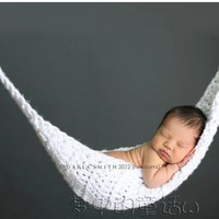 White Color Crochet Hats Newborn Baby Knit Hammock Photography Photo Prop Baby Crochet Knitted Bed:Amazon:Baby