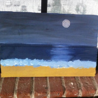 Night Beach Scene painting on pallet wood