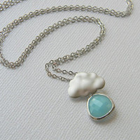 Rain Cloud Necklace White Gold Sky Blue Czech by DanaCastle
