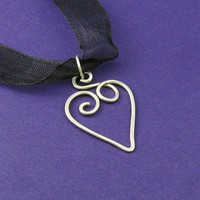 Heart Necklace Sterling Silver by ShutUpAndCuffMe on Etsy
