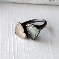Morganite Prasiolite Copper Ring Peach Mint Gem by MidwestAlchemy