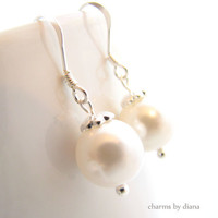 Earrings White Swarovski Pearl Sterling Silver by charmsbydiana
