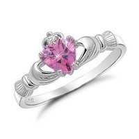 Sterling Silver Pink Heart CZ Claddagh Ring Sizes 4 to 9, 4