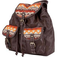 Ethnic Faux Leather Backpack