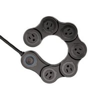 Quirky Pivot Power 6 Outlet Flexible Surge Protector Power Strip (Black)