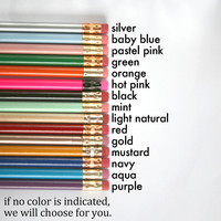 pencil 6 pack custom engraved personalized pencils. One quote. Please read listing for colors. back to school.