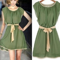 short sleeves Chiffon dress -00-22