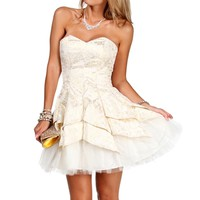 Carrie-Ivory/Gold Homecoming Dress