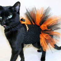 CoolCats Orange and Black Halloween Costume Tutu Dress