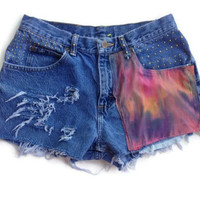 Tie Dye Distressed High Waisted Jean Shorts
