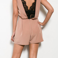 Hopelessly Devoted Lace Romper - Taupe + Black -  $56.00 | Daily Chic Bottoms | International Shipping