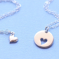 Mother Daughter Heart Necklace Heart Cutout by SilverLiningsByJKB