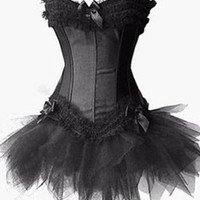 Amazon.com: Burlesque Corset And Petticoat, Solid Black: Clothing