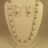 Platinum and White Swarovski Crystals and Pearls by AWRdesigns