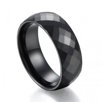Marvelous Domed Multi Faceted Black Ceramic Ring Wedding Band