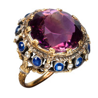 1STDIBS.COM Jewelry & Watches - Amethyst Sapphire Gold Cluster Ring, 19th century - Marie E Betteley, Inc