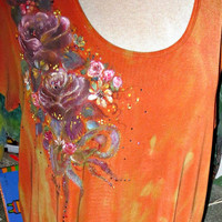 Hand painted Slinky Brand Women Rust Tee - Tie Dyed - Draping Bouquet of various colored purple roses, ribbon, rhinestone crystals - daisies
