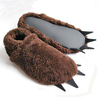 Bigfoot Slippers - Brown with Black Claws - Adult Sizes