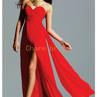 red chiffon floor length evening dresses under 200    cheap long prom dress in stock   sweetheart  empire waist gowns for party hot