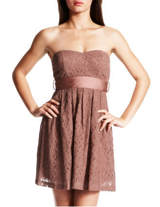 Charlotte Russe - Eyelet-Lace Strapless Dress