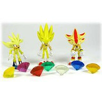 Sonic the Hedgehog Action Figure 3Pack Super Silver, Super Sonic Super Shadow Includes 7 Chaos Emeralds