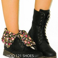 CUTE! Floral FLower Combat Military Flat Boots Fold Over Cuff*Mid Calf