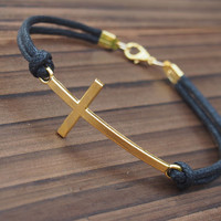 Cross Bracelet Single Bracelet in Gold Color-Black Leather Bracelet-Men Women Gift-Best Friendship Jewelry Gift