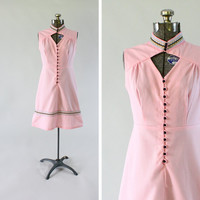 Vintage 1960s Mod Pink Dress -  Size Small Medium Sleeveless Fashion Clothing / Ric Rac Rainbow
