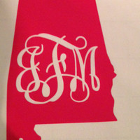 3.5 Inch Alabama Vinyl with Monogram cutout in Vine by RysaRuth