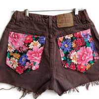 Floral High Waisted Brown Levi Shorts