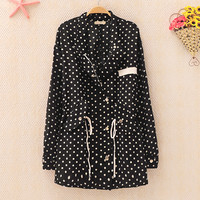 Polka Dots Jacket for Women Beige B