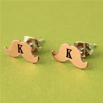 Mustache Stud Earrings - Spiffing Jewelry