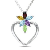 "Sterling Silver, Garnet, Amethyst, Citrine and Peridot Pendant with Chain, 18"": Jewelry"