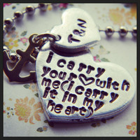 I carry your heart  with me Cummings inspired heart necklace personalized and meaningful jewelry