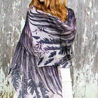 100% SILK purple scarf, Hand painted Wings and feathers, stunning unique and useful, perfect gift
