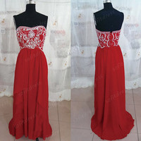 strapless bridesmaid dresses, red bridesmaid dress, cheap bridesmaid dress, long prom dress, evening dress, BM0066
