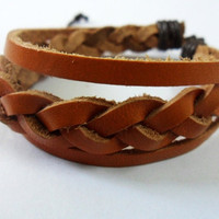Brown Soft Leather Woven Cuff Bracelet 165A by braceletcool