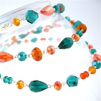 Teal and Orange Buxom Necklace - Spiffing Jewelry