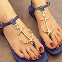 L 082405 y Retro anchor personalized T -Strap Thong Sandals