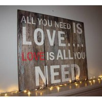 Large Wooden All You Need Is Love Artwork - Wedding Gift from the gifted penguin UK