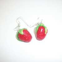 Strawberry Polymer Clay Earring by moonknightjewels on Etsy