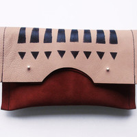 FOLDED CLUTCH // maroon suede and skin tone leather with black tribal pattern