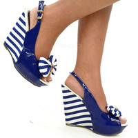 Making Waves New Nautical Navy Sailor Wedge Sandals
