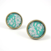 Teal and White Floral Earring Studs Bronze Color by MistyAurora