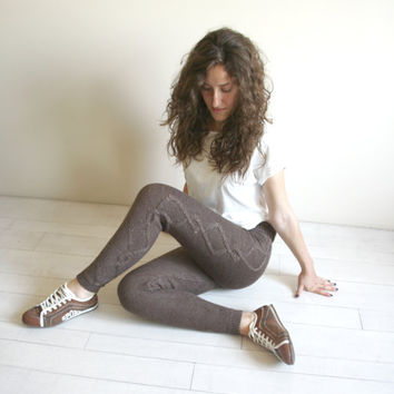 Free Shipping  Brown Knitted Stretch Tight  Pants Cable  Leggings Legwarmer