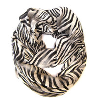 Tiger Striped Infinity Scarf Women's Eternity Animal Print Circle Scarf Black Tan