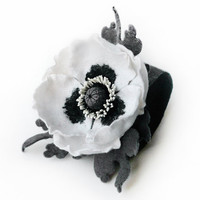 Felted grey bracelet cuff flower white poppy with grey leaves ready to ship