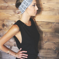 Turban Headband -- Black/White Tribal