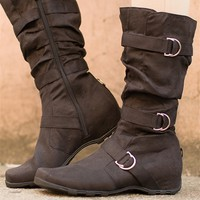 In Cahoots Faux Suede Boots - Black from Forever Link at Lucky 21