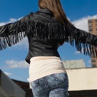 Old School Cool Fringed Faux Leather Jacket - Black from Glam at Lucky 21
